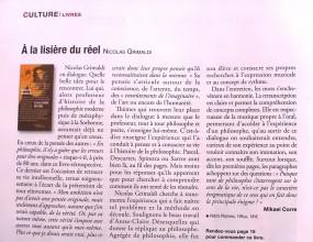 Nicolas Grimaldi - À la lisière du réel dans Le Monde des religions (mai-juin 2013)